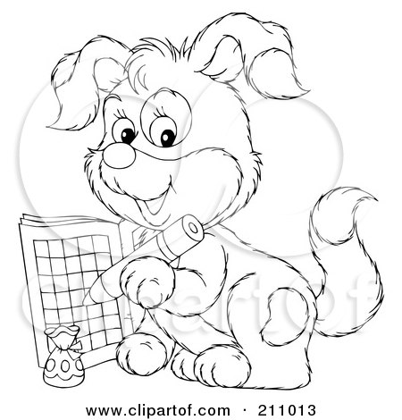 Royalty-Free (RF) Clipart Illustration of a Coloring Page Outline Of A Cute Puppy Using An Activity Book by Alex Bannykh
