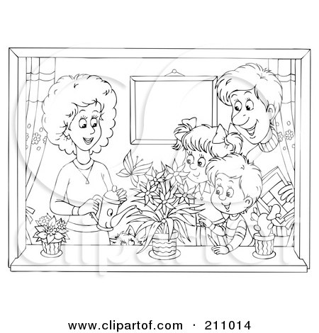 Royalty-Free (RF) Clipart Illustration of a Coloring Page Outline Of A Happy Family Watering Plants In A Window by Alex Bannykh