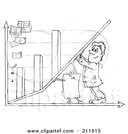 Royalty-Free (RF) Clipart Illustration of a Coloring Page Outline Of A Businessman And Paper Pushing Up A Bar Graph by Alex Bannykh