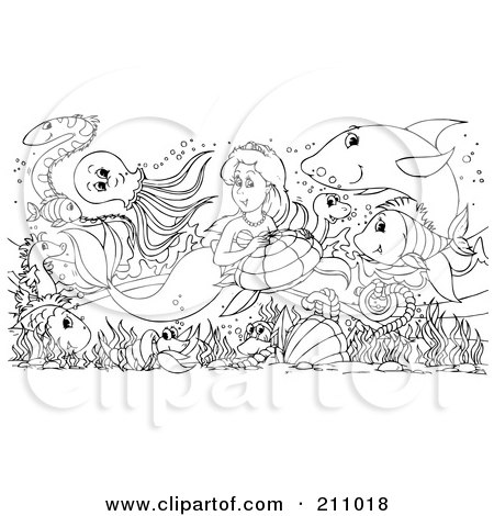 Royalty-Free (RF) Clipart Illustration of a Coloring Page Outline Of Sea Creatures Surrounding A Pretty Mermaid by Alex Bannykh