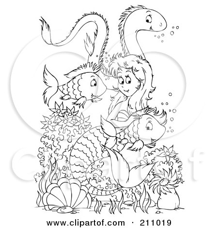 Coloring Page Outline Of A Mermaid Swimming With An Eel And Fish Posters, Art Prints
