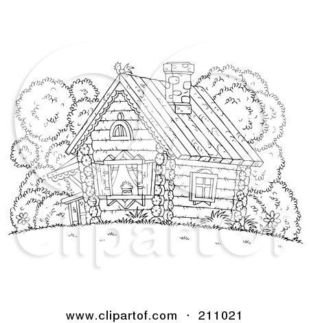 Royalty-Free (RF) Clipart Illustration of a Coloring Page Outline Of A Chicken Atop A Log Cabin by Alex Bannykh
