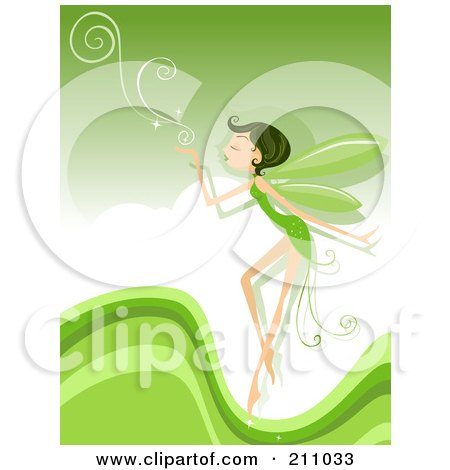 Royalty-Free (RF) Clipart Illustration of a Pixie Blowing Swirls Over A Green Background by BNP Design Studio
