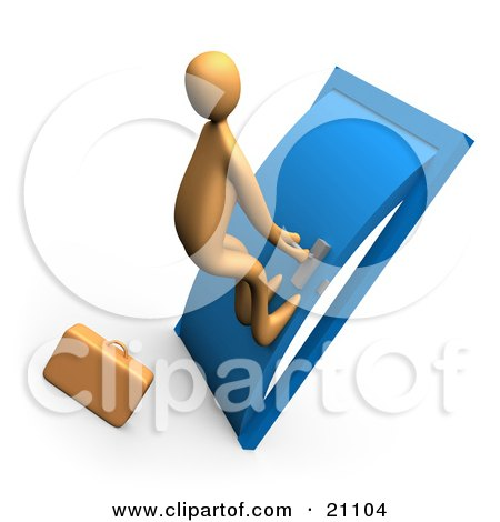 Clipart Illustration of a Desperate Orange Person By A Briefcase, Pushing His Body Against A Door To Try To Open It by 3poD