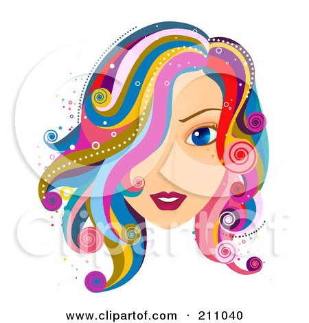 Royalty-Free (RF) Clipart Illustration of a Beautiful Blue Eyed Woman With Colorful Hair by BNP Design Studio