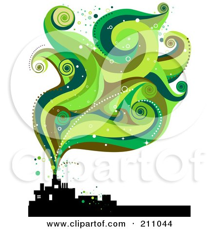 Royalty-Free (RF) Clipart Illustration of Green Smoke Waves Rising From A Silhouetted Factory by BNP Design Studio