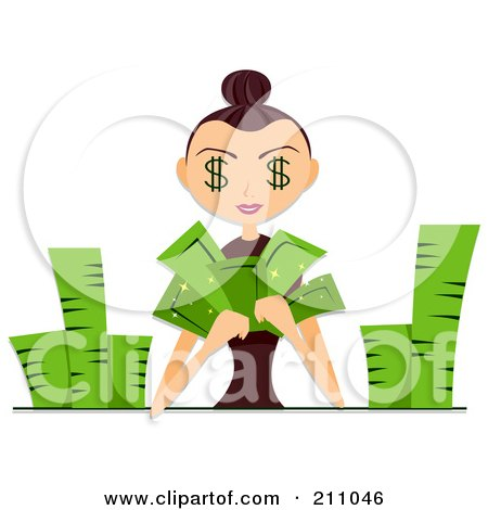 Royalty-Free (RF) Clipart Illustration of a Woman With Dollar Eyes, Counting Piles Of Cash by BNP Design Studio