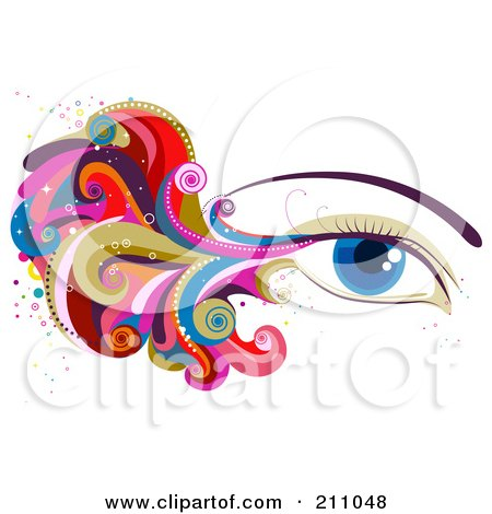 Royalty-Free (RF) Clipart Illustration of a Woman's Blue Eye With Colorful Waves And Swirls by BNP Design Studio