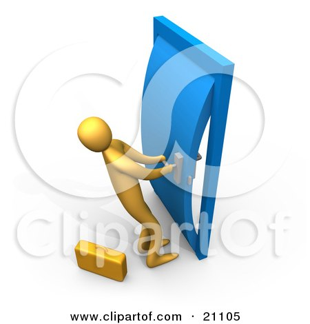 Clipart Illustration of an Orange Person By A Briefcase, Struggling To Open A Stuck Door by 3poD