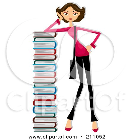 Royalty Free Rf Clipart Illustration Of A Bru te Woman Leaning Against A Very Tall Stack Of Books on coloring pages for stack of school books