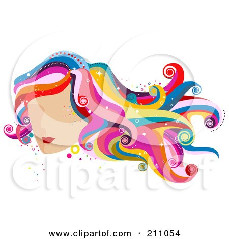 Royalty-Free (RF) Clipart Illustration of a Woman's Face With Red Lips And Colorful Wavy Hair by BNP Design Studio