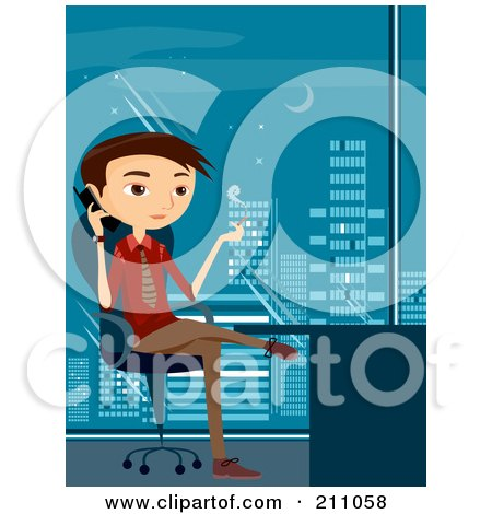 Royalty-Free (RF) Clipart Illustration of a Young Businsesman Smoking A Cigarette And Talking On A Cell Phone In An Office by BNP Design Studio