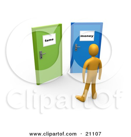 Clipart Illustration of an Orange Person Standing Before Two Closed Doors, One Leading To Fame, The Other Leading To Money by 3poD