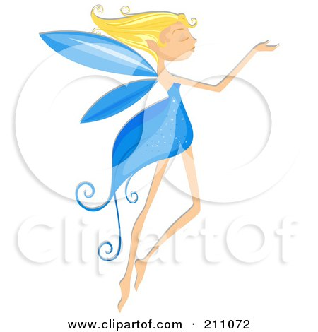 Royalty-Free (RF) Clipart Illustration of a Beautiful Blond Pixie With A Blue Dress And Wings by BNP Design Studio