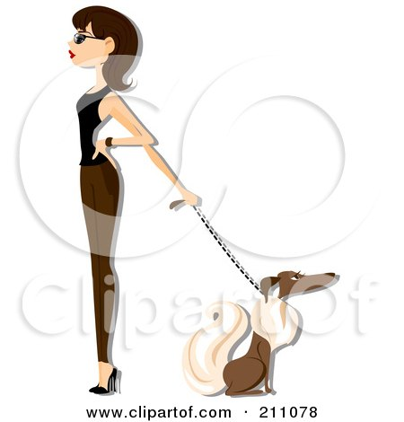 Royalty-Free (RF) Clipart Illustration of a Stylish Woman Walking A Dog by BNP Design Studio