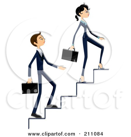 Royalty-Free (RF) Clipart Illustration of a Young Business Woman And Man Walking Up Stairs by BNP Design Studio