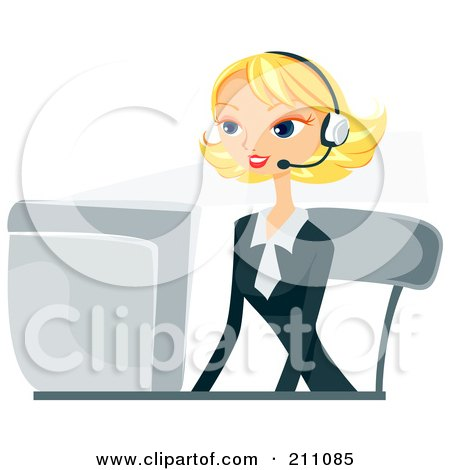 Pretty Blond Businesswoman Wearing A Headset And Working On A Computer Desk Posters, Art Prints