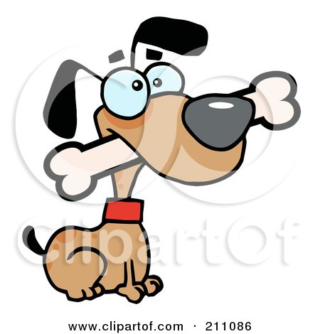 Royalty-Free (RF) Clipart Illustration of an Alert Brown Dog Sitting With A Bone In His Mouth by Hit Toon