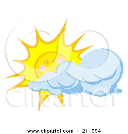 Royalty-Free (RF) Clipart Illustration of a Cloud Moving In Front Of A Happy Sun by Hit Toon