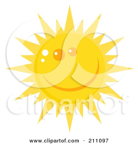 Royalty-Free (RF) Clipart Illustration of a Happy Sun Face With A Smile by Hit Toon