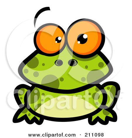 Royalty-Free (RF) Clipart Illustration of a Goofy Spotted Frog With Big Orange Eyes by Hit Toon