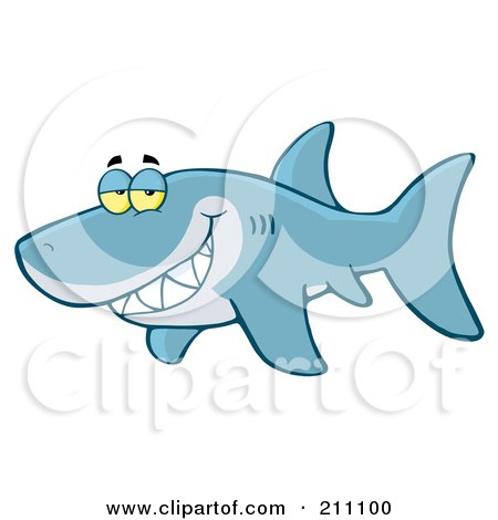 Royalty-Free (RF) Clipart Illustration of a Blue Shark Flashing A Flirty Smile by Hit Toon
