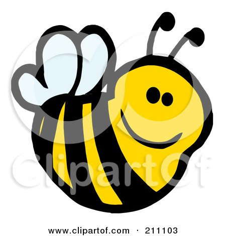 Royalty-Free (RF) Clipart Illustration of a Cute Cartoon Smiling Bee by Hit Toon