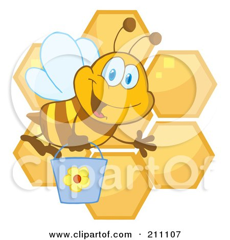 Royalty-Free (RF) Clipart Illustration of a Cute Bee Waving And Carrying A Bucket Over Honeycombs by Hit Toon