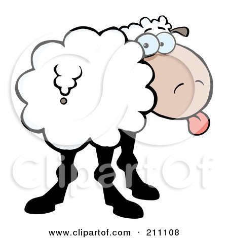 Royalty-Free (RF) Clipart Illustration of a Goofy Sheep Sticking Its Tongue Out And Looking Back by Hit Toon