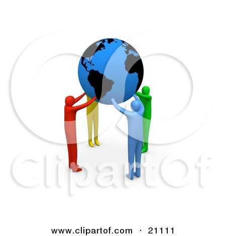 Clipart Illustration of a Group Of Diverse People Coming Together And Supporting The Planet Earth by 3poD