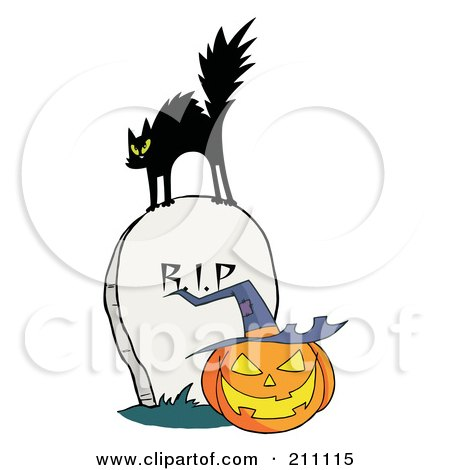 Royalty-Free (RF) Clipart Illustration of a Scared Black Cat On A Tombstone Over A Jackolantern by Hit Toon