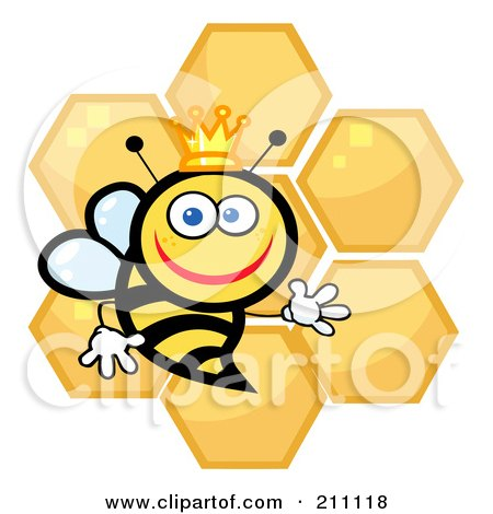 Royalty-Free (RF) Clipart Illustration of a Happy Queen Bee With Honey Combs by Hit Toon