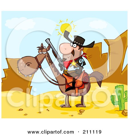 Royalty-Free (RF) Clipart Illustration of a Sheriff On Horseback In A Desert Landscape by Hit Toon