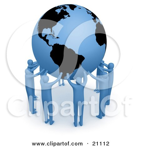 Clipart Illustration of a Team Of Blue People Forming A Circle Around The Earth And Holding It Up High by 3poD