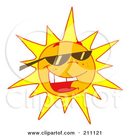 Royalty-Free (RF) Clipart Illustration of a Hot Summer Sun Wearing Shades by Hit Toon