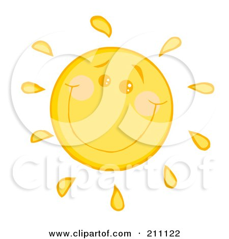 Royalty-Free (RF) Clipart Illustration of a Happy Sun With A Smile by Hit Toon