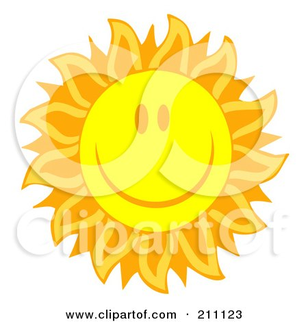 Royalty-Free (RF) Clipart Illustration of a Happy Sun Face With Petal Like Rays by Hit Toon