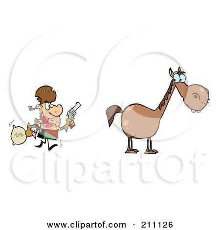 Royalty-Free (RF) Clipart Illustration of a Bandit Running Towards His Horse by Hit Toon
