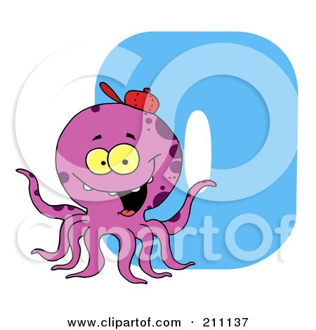 Royalty-Free (RF) Clipart Illustration of a Letter O With An Octopus by Hit Toon