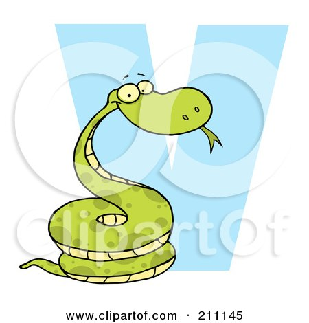 Royalty-Free (RF) Clipart Illustration of a Letter V With A Viper by Hit Toon