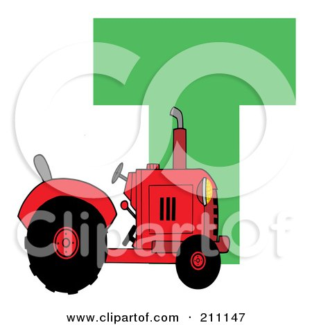 Royalty-Free (RF) Clipart Illustration of a Letter T With A Tractor by Hit Toon