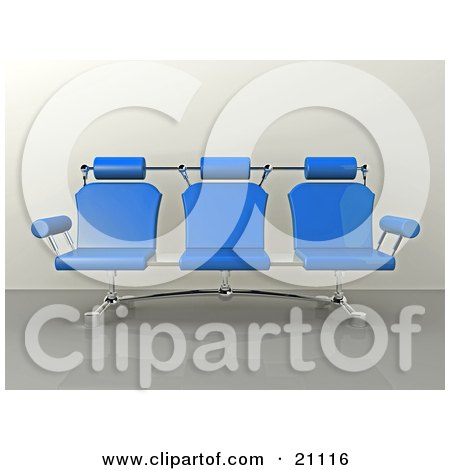 Clipart Illustration of a Modern Blue Office Bench With Three Seats, On A Reflective Floor by 3poD