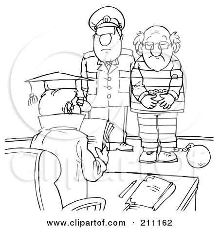 Royalty-Free (RF) Clipart Illustration of a Coloring Page Outline Of A Cop With A Prisoner In Front Of A Judge by Alex Bannykh