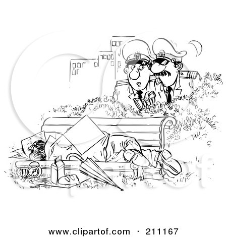 Coloring Page Outline Of Police Discovering A Man Sleeping On A Bench Posters, Art Prints
