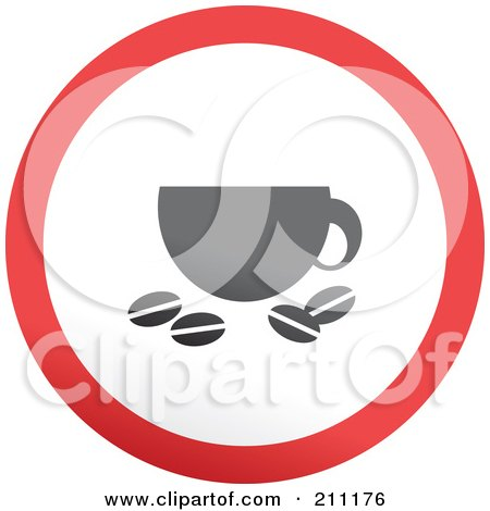 Royalty-Free (RF) Clipart Illustration of a Red, Gray And White Rounded Coffee Button by Prawny