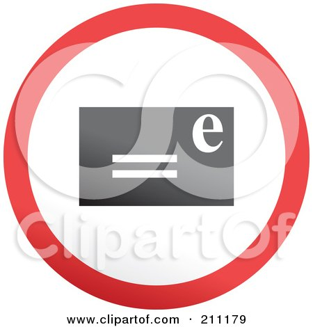 Royalty-Free (RF) Clipart Illustration of a Red, Gray And White Rounded Email Button by Prawny
