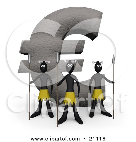 Clipart Illustration of Three Native Guards With Spears, Protecting A Giant Euro Stone Statue by 3poD