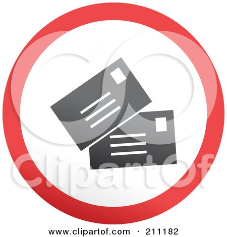 Royalty-Free (RF) Clipart Illustration of a Red, Gray And White Rounded Letters Button by Prawny