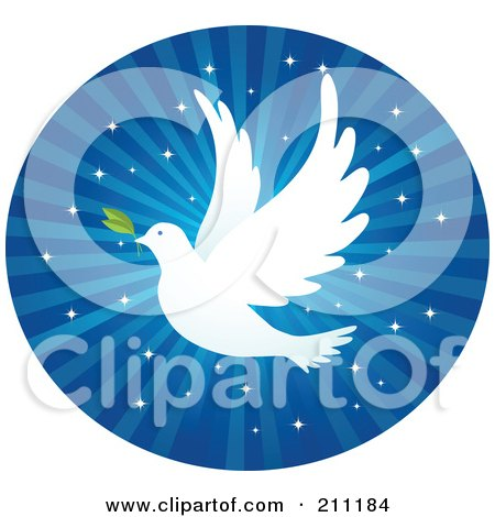 Royalty-Free (RF) Clipart Illustration of a White Dove With A Leaf, Flying Over Blue Glittery Rays In A Circle by Qiun