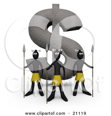 Clipart Illustration of Three Native Guards With Spears, Protecting A Giant Dollar Statue Made Of Stone by 3poD